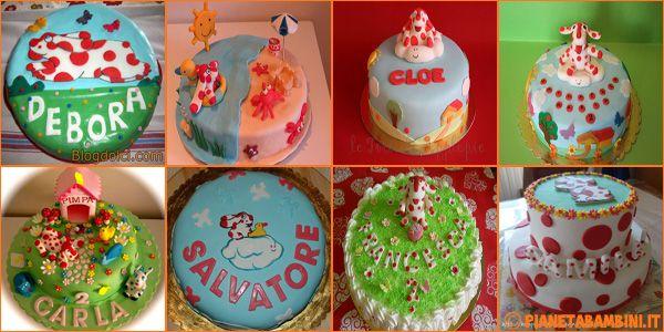 50 torte della Pimpa con decorazioni in pasta di zucchero per i compleanni dei bambini