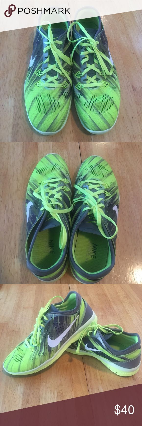 Nike Free TR FIT 5.0 Neon yellow and grey Nike cross trainers. Nike Shoes Sneakers