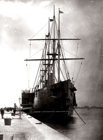 The S.S. Great Eastern under construction at Millwall in 1859