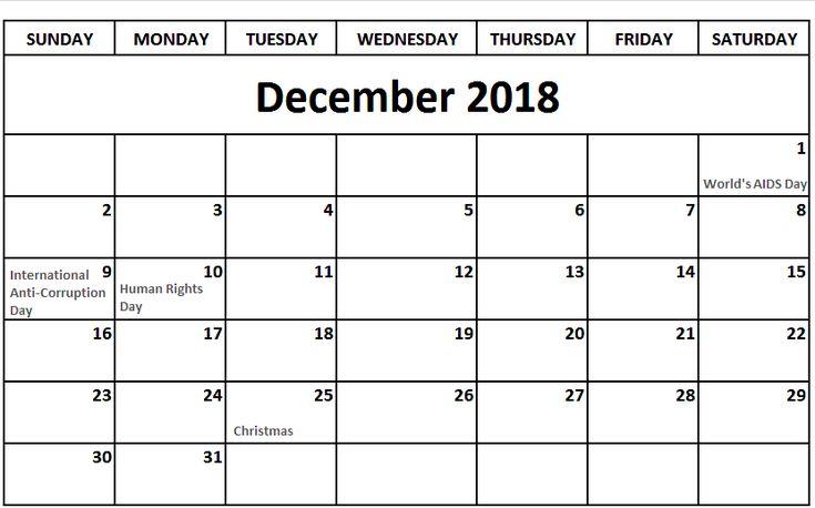 Calendar December 2018 Jan 2019 December 2018 Calendar Pinterest