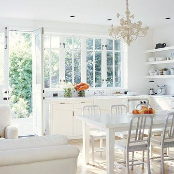 You viewed the outside of my kitchen nook, well here is the Cottage-Style Open Kitchen nook you can have breakfast in...just knock on the back door! I love the bright morning sun coming through the large windows. I also love opening the windows and doors on a crisp summer morning.