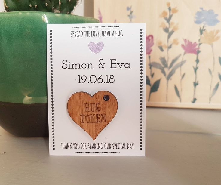 Personalised Wedding Favours, Wooden Hug Tokens, Message