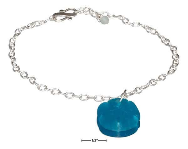 Sterling Silver Dangling Turquoise Sea Glass Sand Dollar Pendant Anklet