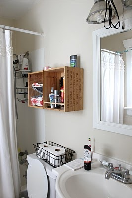 Love this storage for a little bathroom