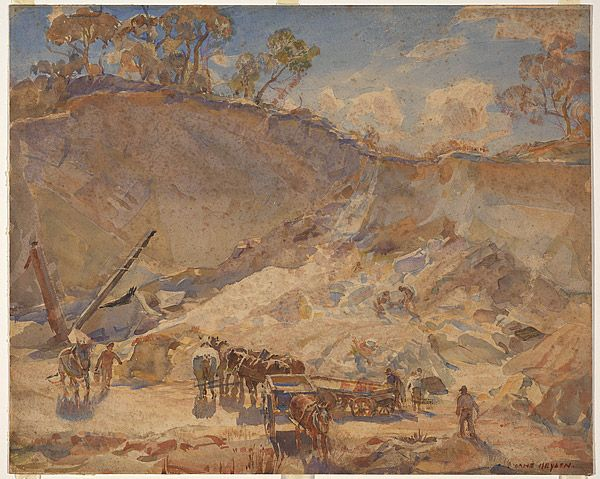 Hans HEYSEN, (The quarry) My mum, as a tiny girl, saw him painting this, as my grandad worked here and the family home was in Crafers