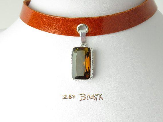 Collier Ras de Cou Citrine et Cuir Collier Choker par ZenBoutik