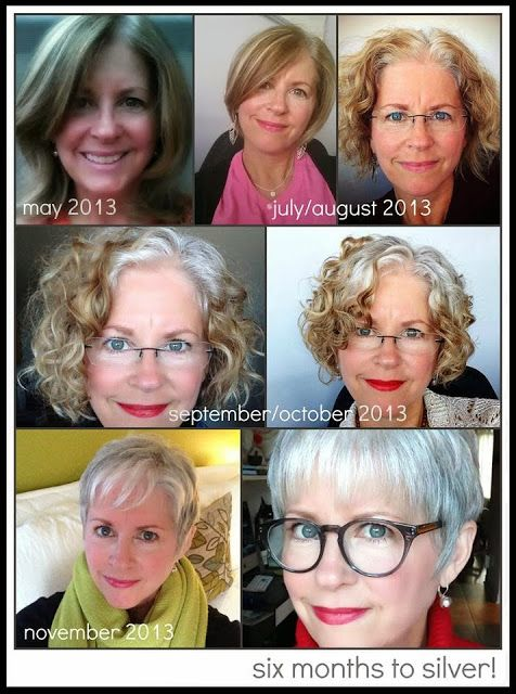 Going from dyeing your hair to natural gray gracefully . . . I loooooove the silver pixie cut!