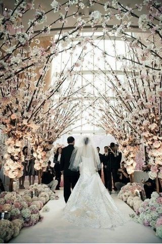 #churchdecorations #wedding #wood #trees #flowers #beautiful #whitecarpet #pathway #winter #spring #fairytalelike