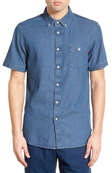 Obey 'Keble' Trim Fit Short Sleeve Denim Shirt
