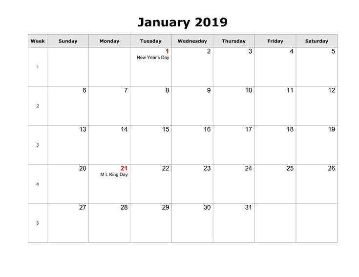 January 2019 Calendar With Holidays Business Template January 2019