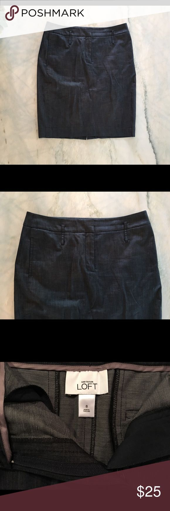 """Ann Taylor Loft Blue Jean Skirt This skirt is in brand new like condition. This is an effortlessly cool dark wash blue jean skirt.  Front (hidden) Zip, side pockets, 2 back pockets and belt loops. The waist band is 2"""" wide.  Approximate Measurements 22""""L x 16""""W x 17.5""""Hips Ann Taylor Skirts"""