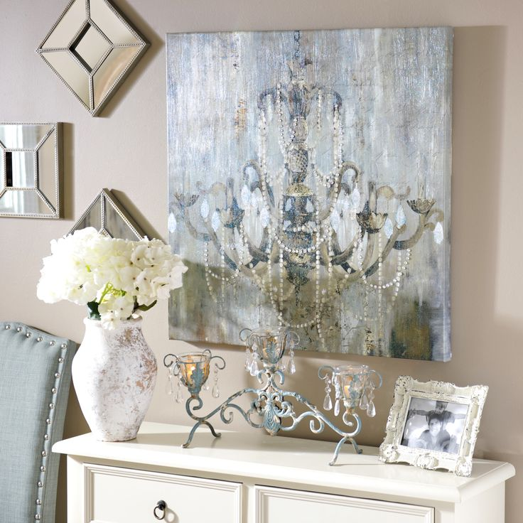 Jeweled chandelier canvas art print