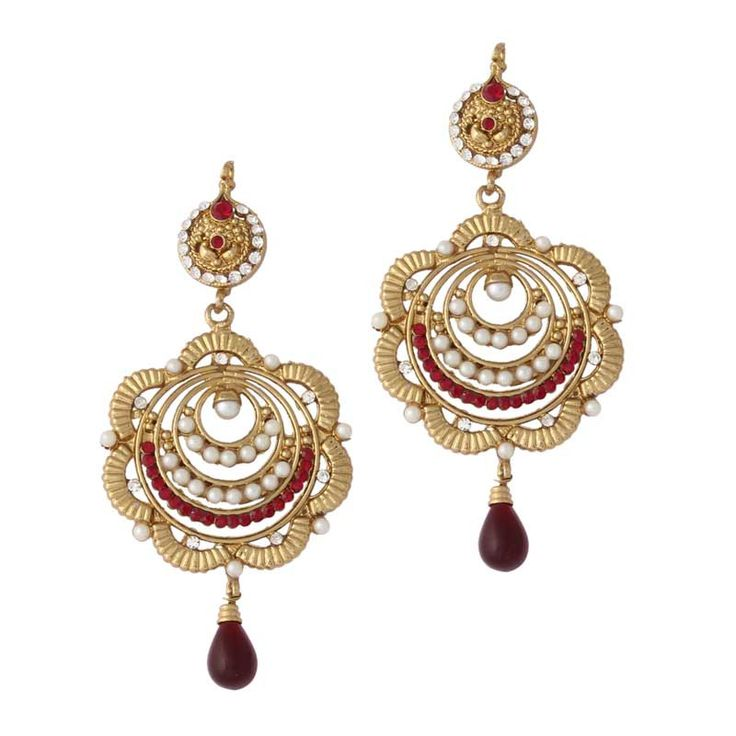 Red  Gold Plated Pearl Earrings