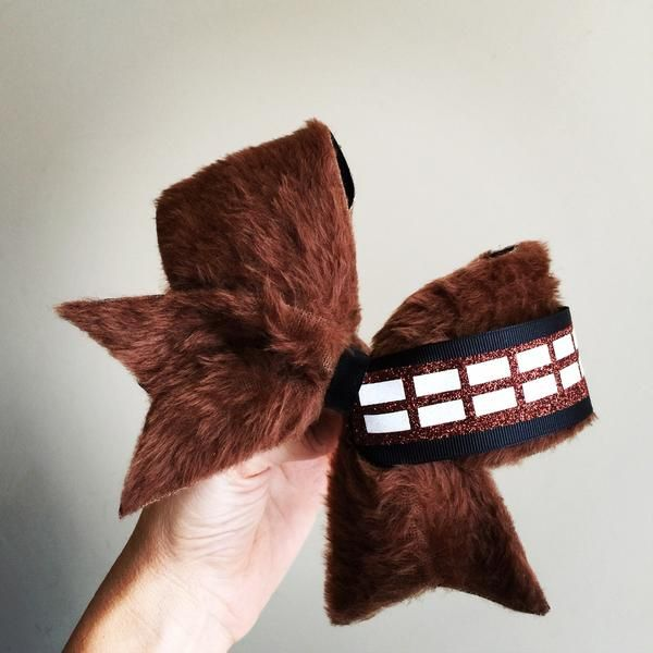 Chewbacca Furry Cheer Bow! ponytail holder attached! free shipping! We Do Team Orders!