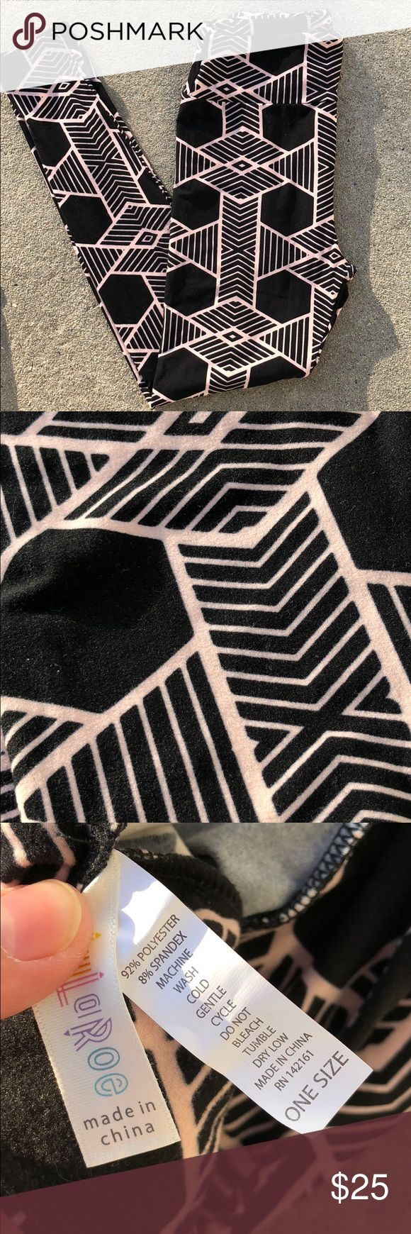 Lularoe one size leggings tribal Aztec pants Cute pair of Lularoe leggings in a size one size. They are in excellent condition and very comfortable. This pair is 92% polyester and 8% spandex. LuLaRoe Pants Leggings