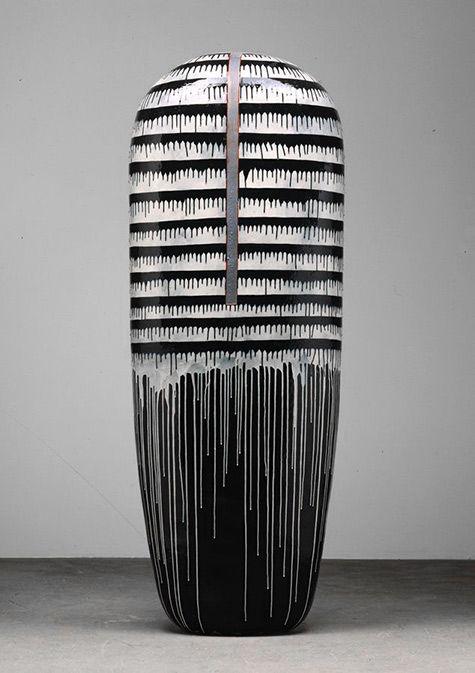Jun Kaneko Dango, 2001 Hand built glazed ceramic--83h-x-30w-x-16