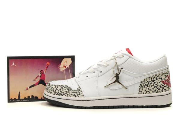 3370 White Grey Air Jordan Retro 1 Low Shoes Mens Sale 70972