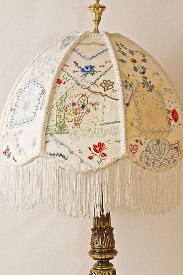 #vintage #vintagelinens #crazyquiltpatchwork #embroidery #vintageembroidery #beadembroidery #beadswork #lampshade #sandrafoster  #sandrafosterredbubble  http://www.redbubble.com/people/sandrafoster/works/20951918-vintage-lampshade-handstitched?asc=u