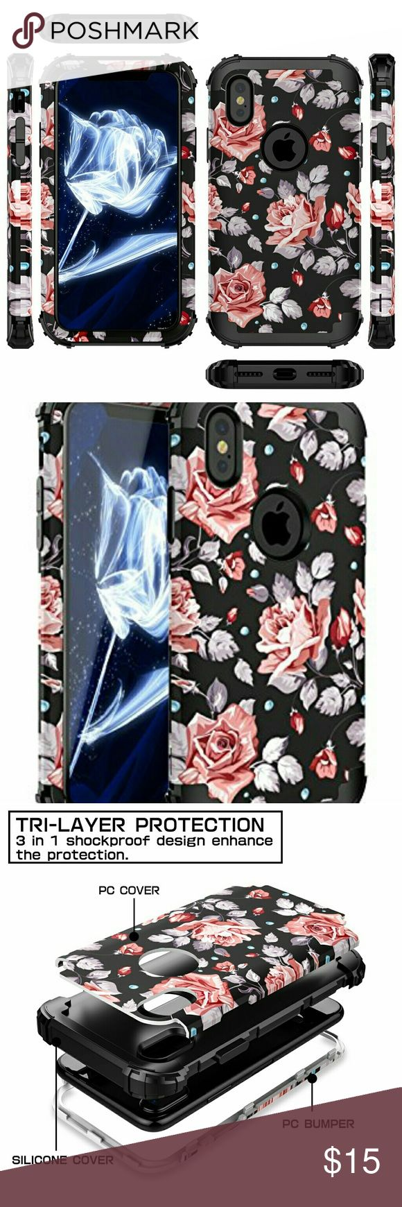 Brand new in package iPhone X Case, [Heavy Duty] Three Layer Hybrid Sturdy Armor High Impact Resistant Protective Cover Case For iPhone X 2017 Release,Rose Flower/Black Accessories Phone Cases