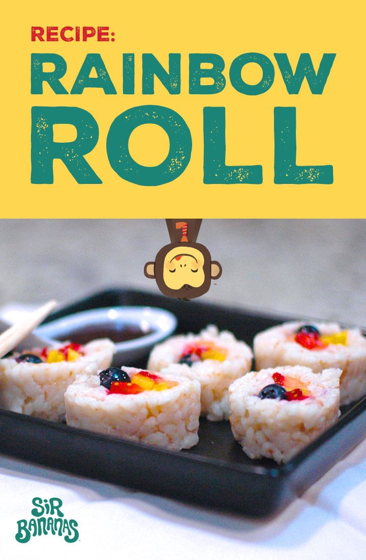 This fun and fruity twist on a sushi roll is colorful, flavorful and just plain awesome. Serve it as a unique brunch item or with chocolate sauce for a deliciously different dessert.