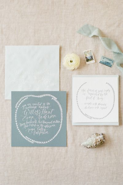 Soft gray invitations: http://www.stylemepretty.com/2015/05/22/rhythm-of-the-waves-wedding-editorial/ | Photography: Tamara Gruner - http://www.tamaragruner.com/