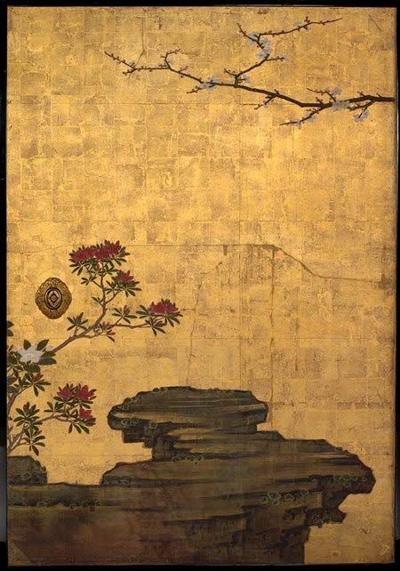 Attibuted to Kano Sansetsu, The Old Plum, Edo PEriod (1615-1868), ca 1645, Japan. four sliding door panels (fusuma), ink, colour, gold leaf on paper, The Metropolitian Museum of Art