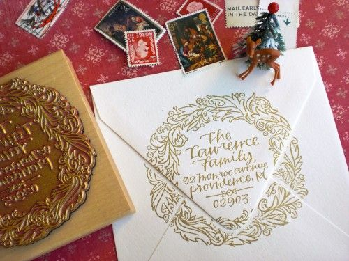 calligraphy holiday address stamp: Christmas Cards, Envelopes, Paper, Return Address Stamps, Holidays, Calligraphy Stamps, Design, Wreaths, Custom Stamps