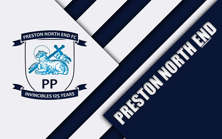 Download wallpapers Preston North End FC, logo, 4k, white blue abstraction, material design, English football club, Preston, England, UK, football, EFL Championship