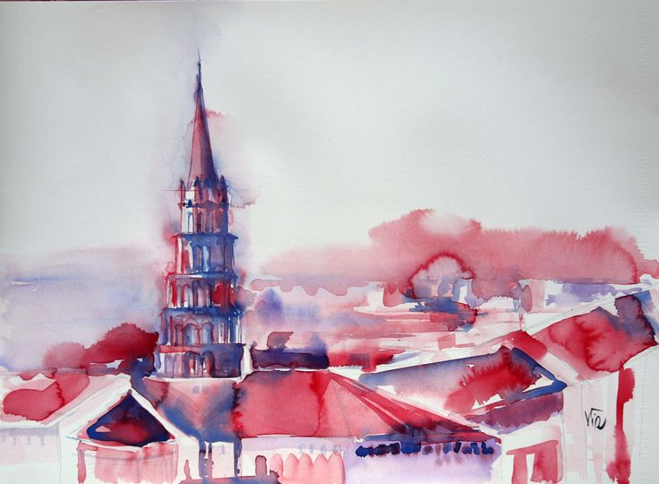 Toulouse aquarelle moderne, sur papier fabriano extra blanc 640g