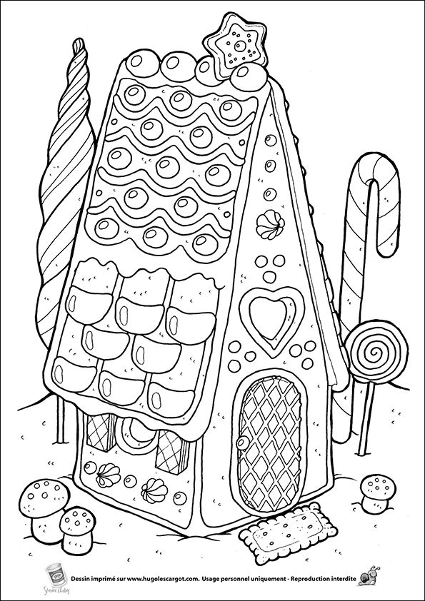 Coloriage maison pain epices sur Hugolescargot.com - Hugolescargot.com