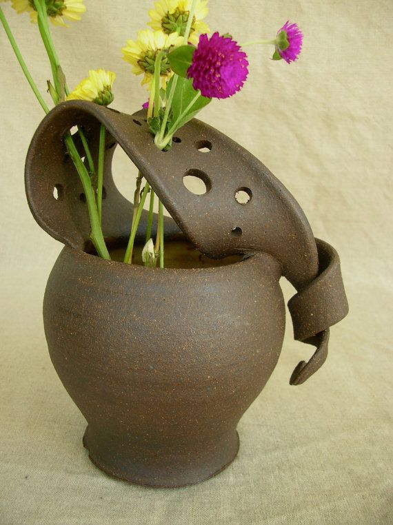 Ceramic Wild Flower Vase in Sun Yellow and by clayshapergallery