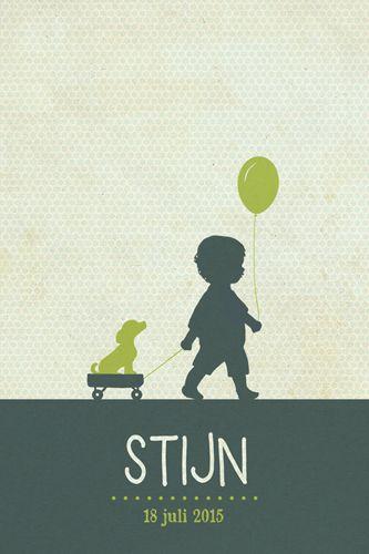 Geboortekaartje jongen - Stijn - Pimpelpluis - https://www.facebook.com/pages/Pimpelpluis/188675421305550?ref=hl (# simpel - eenvoudig - retro - jongetje - hondje - hond - dieren - lief - silhouet - ballon - kindje - origineel)