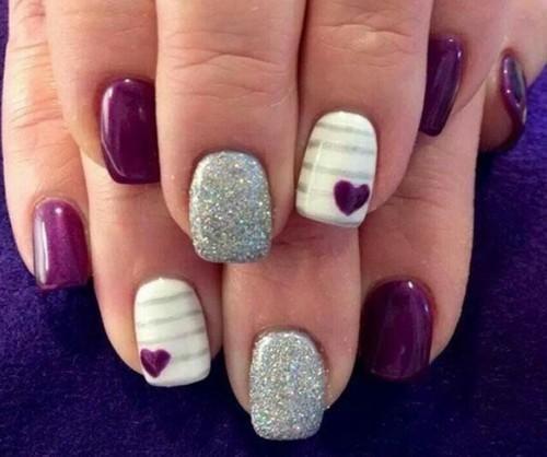 #purple #hearts #nails