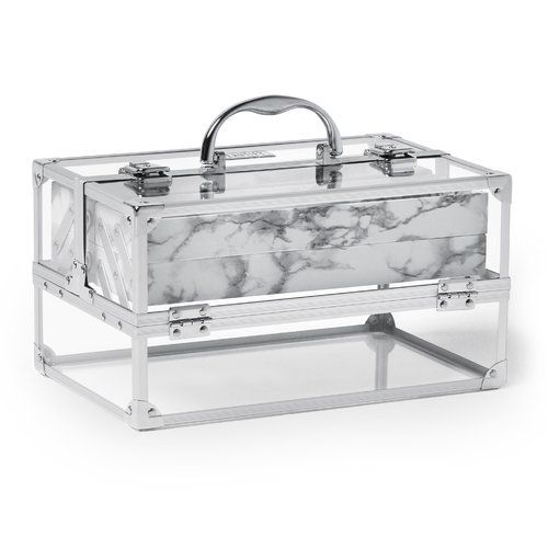Found it at Wayfair - Professional Large Lockable Acrylic Cosmetic and Makeup Train Case with Chrome Frame