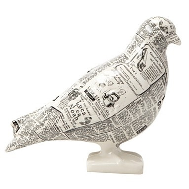 £18 from Debenhams - Cream decorative newspaper printed pigeon - fun way to style your home using the latest trend of bringing the outdoors in!