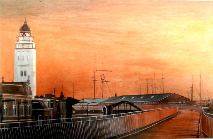 Vuurtoren, Harlingen, Friesland (schilderij/painting van/by Bob Bosma, Heiloo)