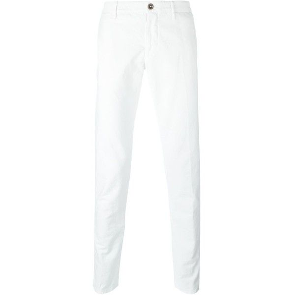 Incotex chino trousers ($119) ❤ liked on Polyvore featuring men's fashion, men's clothing, men's pants, men's casual pants, white, mens chinos pants, mens white pants, mens chino pants and mens white chino pants