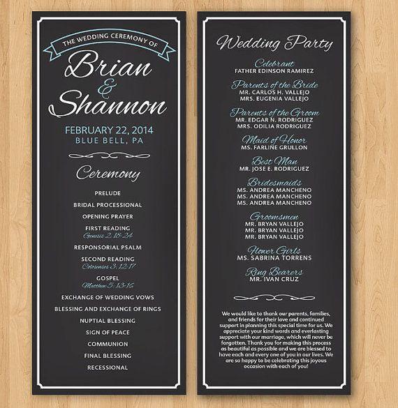 DIY Printable Wedding Program  Chalkboard by InkdDesignStudio, $30.00