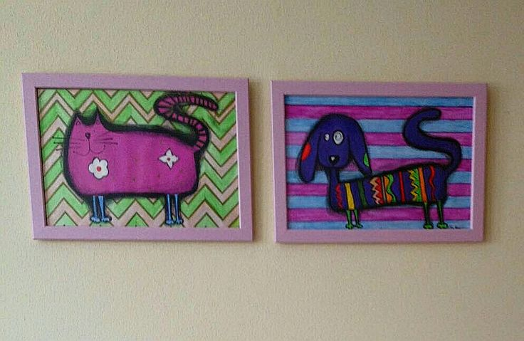 Akryl,pastel, Pes&Mačka