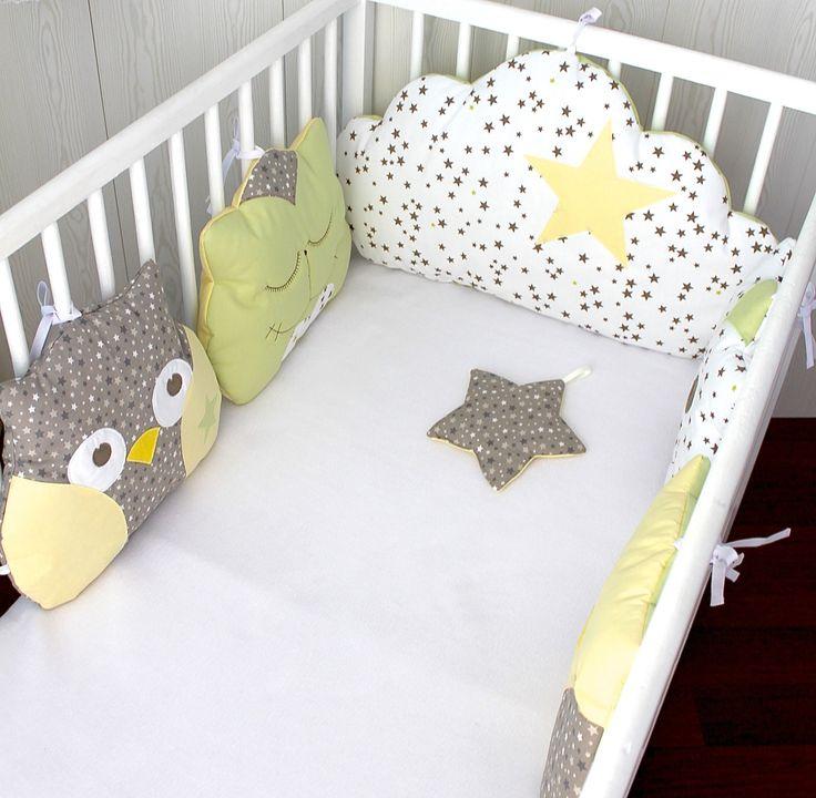 *Tour de lit 5 coussins chat et hibou ou chouette, et nuage, jaune, taupe et vert