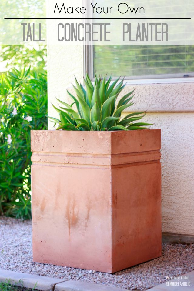 Lean how to make your own tall, decorative concrete planter.