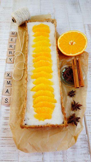 Lebkuchentarte mit Vanillecreme und Orange