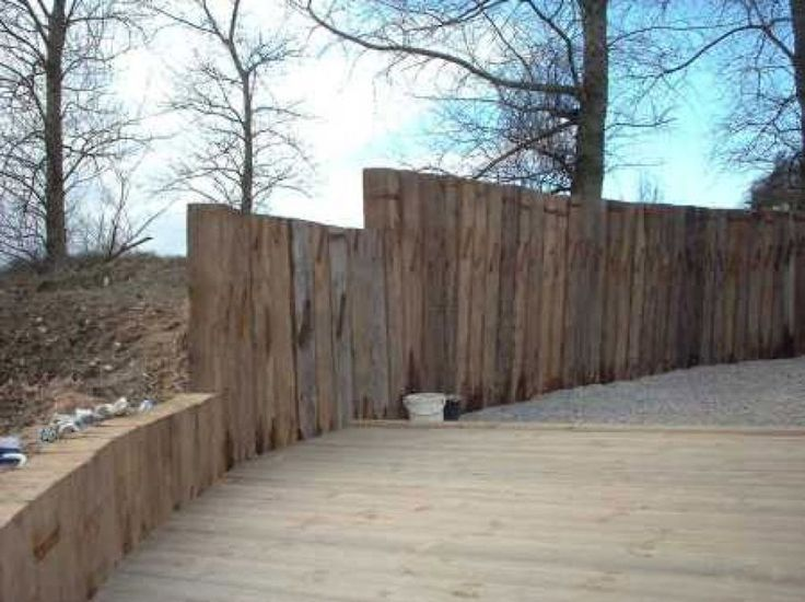 railway sleepers garden fence ideas gardening pinterest railway sleepers garden sleepers garden and railway sleepers