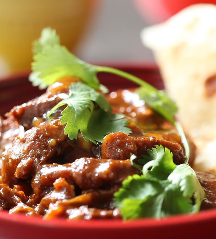 A traditional Cape Malay curry combines sweet and savoury flavours for a wonderfully fragrant and delicious meal. This recipe is slow cooked for meltingly tender beef, served over warm roti and garnished with fresh coriander.