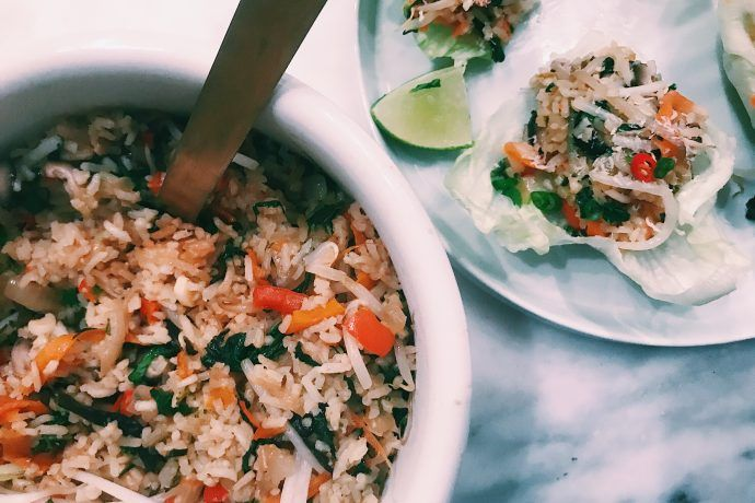 coconut jasmine rice lettuce cups