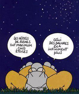 Les hôtels de riches ont maximum cinq étoiles, celui des pauvres en a infiniment plus. Le chat, Philippe Geluck #BD