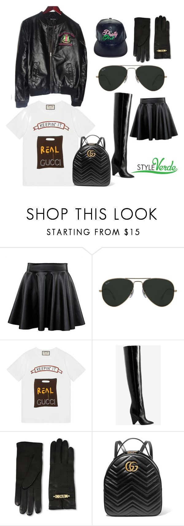 """Bombers and Backpacks"" by cagreinvented on Polyvore featuring Ray-Ban, Gucci, Yves Saint Laurent and Moschino"