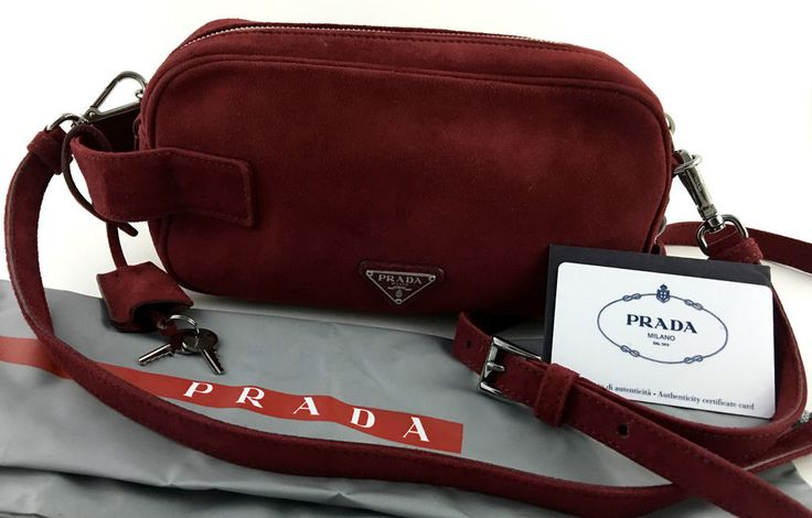 prada red suede purse