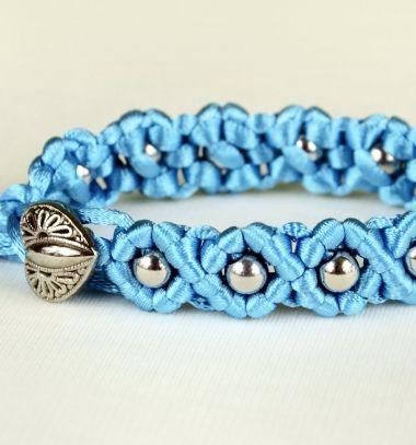 DIY easy wave flower bracelet with beads (macrame) // Egyszerű csomózott virágos karkötő gyöngyökkel - makramé // Mindy - craft tutorial collection