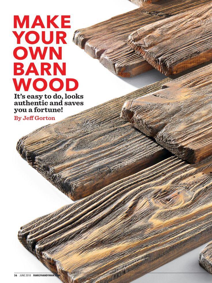 """""""MACHEN SIE IHR EIGENES SCHEUNENHOLZ"""" von Family Handyman, Juni 2018. Lesen Sie es auf der Textur … #WoodWorking"""